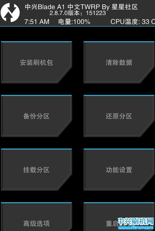中兴Blade A1第三方twrp Rec中文恢复模式下载
