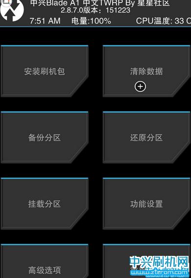 中兴小鲜3第三方recovery 中兴C880中文TWRP模式